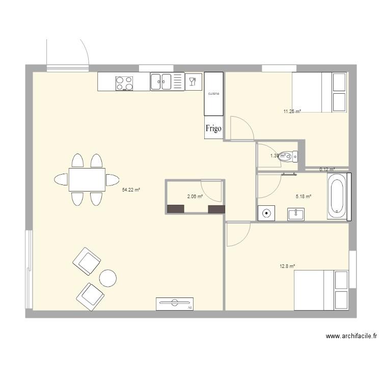 appartement au rdc t3 simplex plan 7 pi ces 87 m2. Black Bedroom Furniture Sets. Home Design Ideas