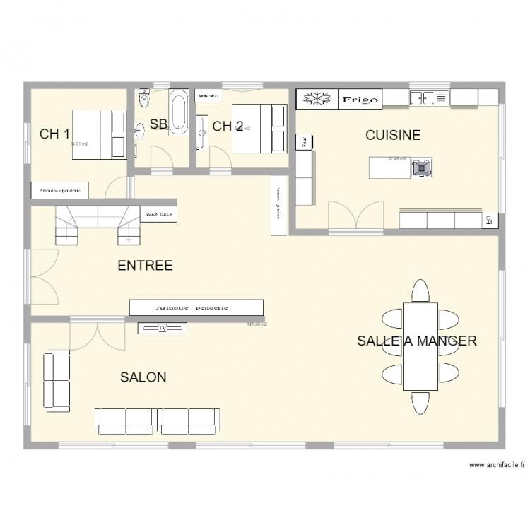 Maison tunisie plan 5 pi ces 208 m2 dessin par samywlt for Plan de maison en tunisie