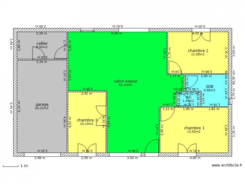 plan de maison 12m sur 8m