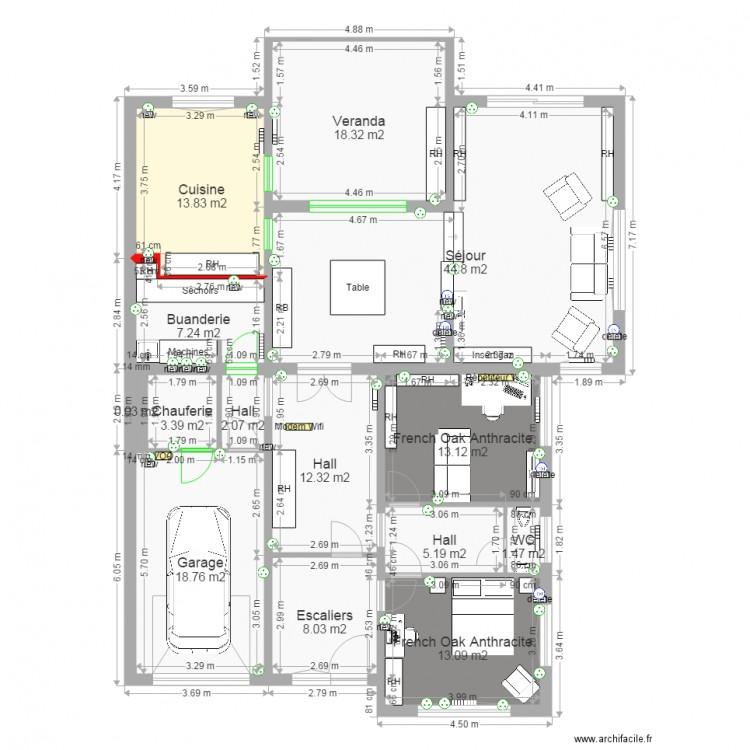 Moulin rdc 10 05 plan 14 pi ces 162 m2 dessin par for 162 plan