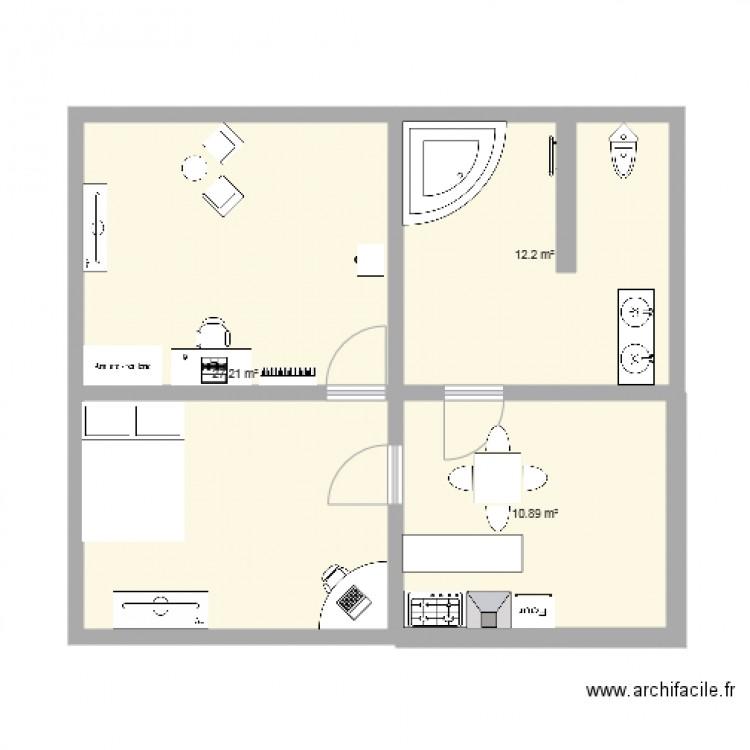 Maison de dan et teddy plan de 3 pi ces et 50 m2 - Plan de maison 2 pieces ...