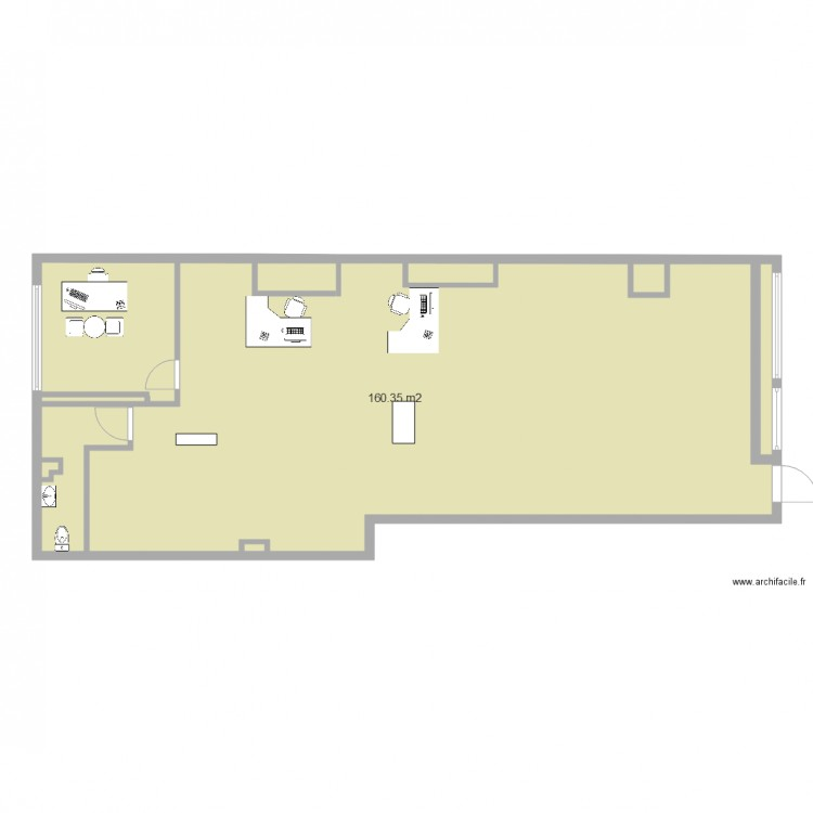 Bureau ms adil plan 1 pi ce 160 m2 dessin par lamita for Nombre de m2 par personne bureau