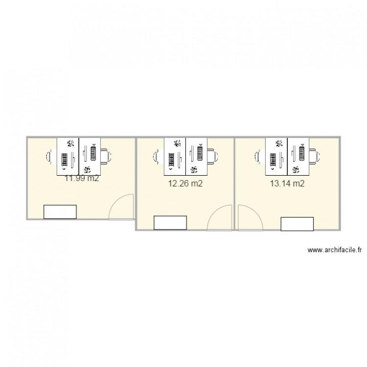 Bureau mse plan 3 pi ces 37 m2 dessin par mathilde plan for Nombre de m2 par personne bureau