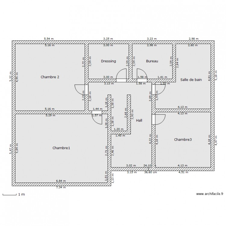 Plan maison 1er tage plan 7 pi ces 130 m2 dessin par - Plan maison 130 m2 etage ...