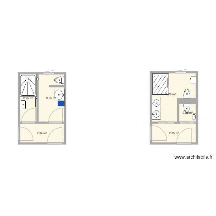 salle de bain 1 plan 6 pi ces 16 m2 dessin par aubryp. Black Bedroom Furniture Sets. Home Design Ideas