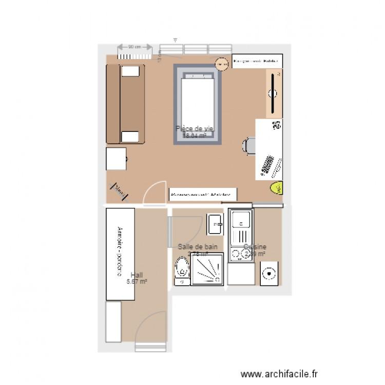 plan d appartement plan 4 pi ces 29 m2 dessin par noemiev. Black Bedroom Furniture Sets. Home Design Ideas
