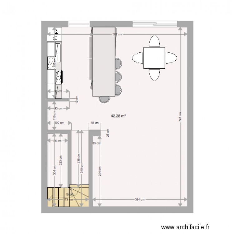 Implantation cuisine plan 1 pi ce 42 m2 dessin par for Plan implantation cuisine