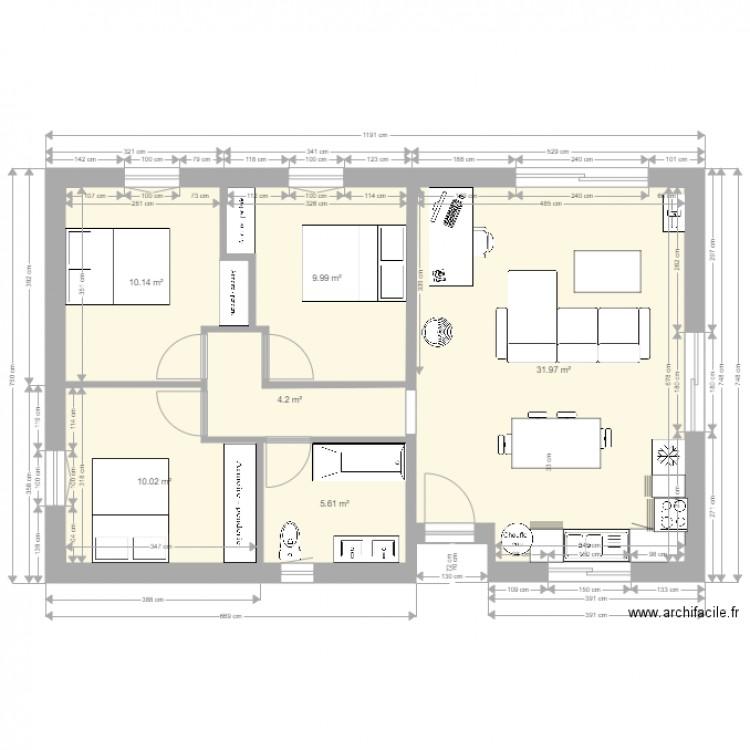 Plan Maison 70m2 Plan 6 Pieces 72 M2 Dessine Par Joachim40