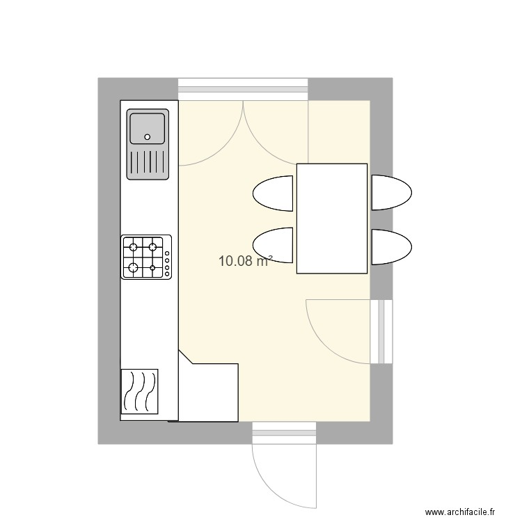 cuisine 10m2 double entr e plan 1 pi ce 10 m2 dessin par webfada. Black Bedroom Furniture Sets. Home Design Ideas