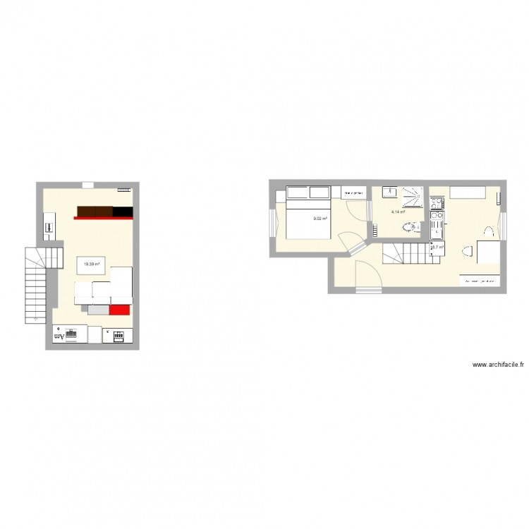neuilly plaisance plan 4 pi ces 49 m2 dessin par aspicthesnake. Black Bedroom Furniture Sets. Home Design Ideas