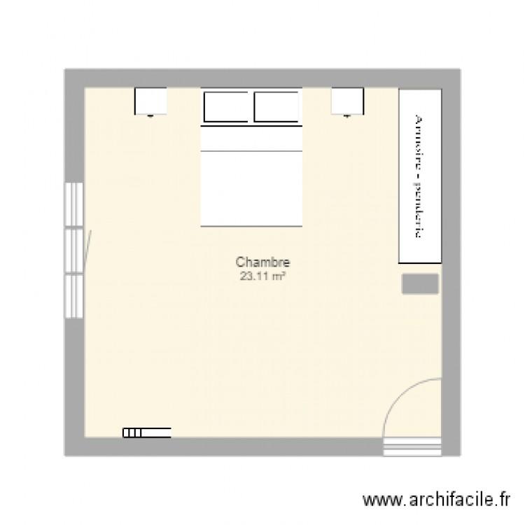 Chambre plan 1 pi ce 23 m2 dessin par stephcarl for Chambre one piece