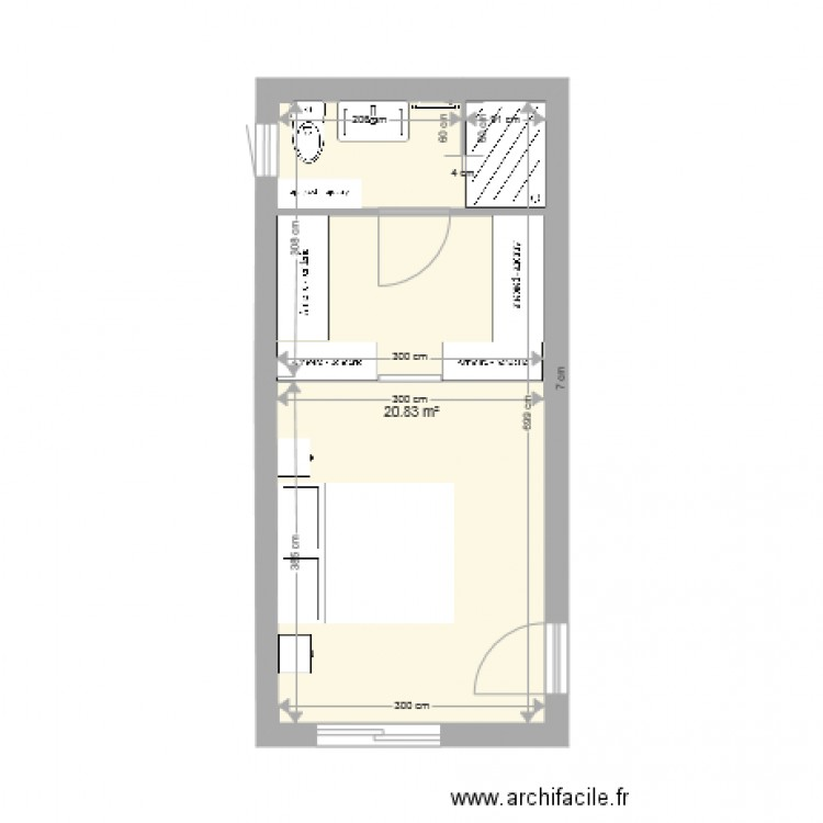suite parentale 3 plan 1 pi ce 21 m2 dessin par karinepi78. Black Bedroom Furniture Sets. Home Design Ideas