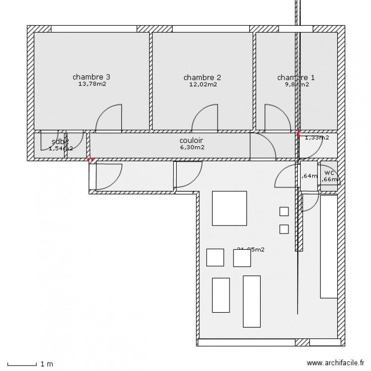 hoche cuisine ouverte salon plan 9 pi ces 77 m2 dessin par kolib. Black Bedroom Furniture Sets. Home Design Ideas