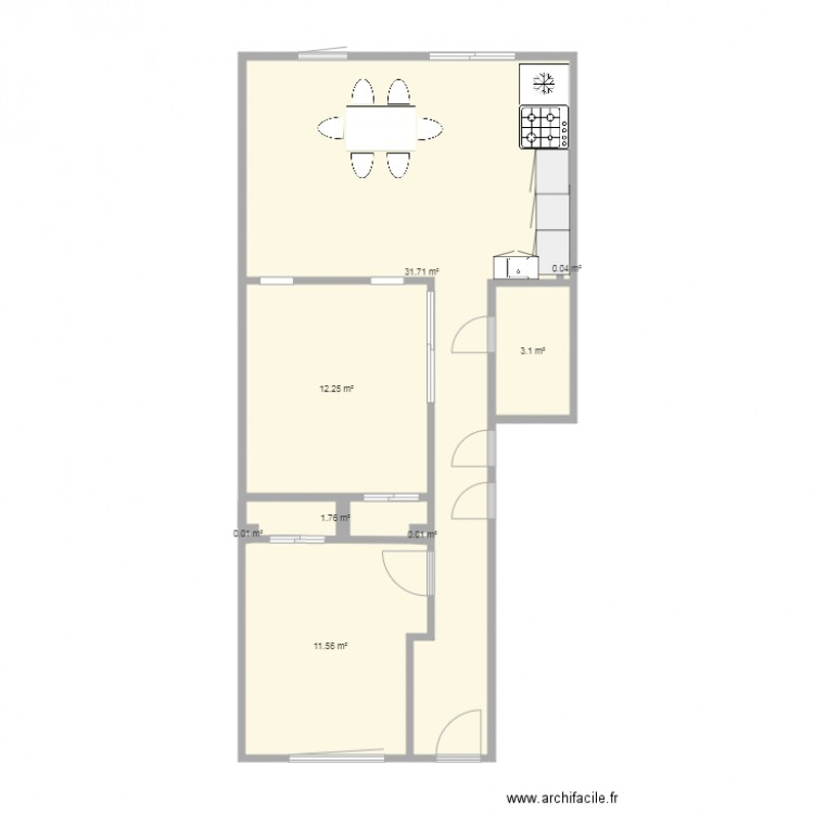 mur en vitre depolie plan 8 pi ces 60 m2 dessin par ledabe93. Black Bedroom Furniture Sets. Home Design Ideas