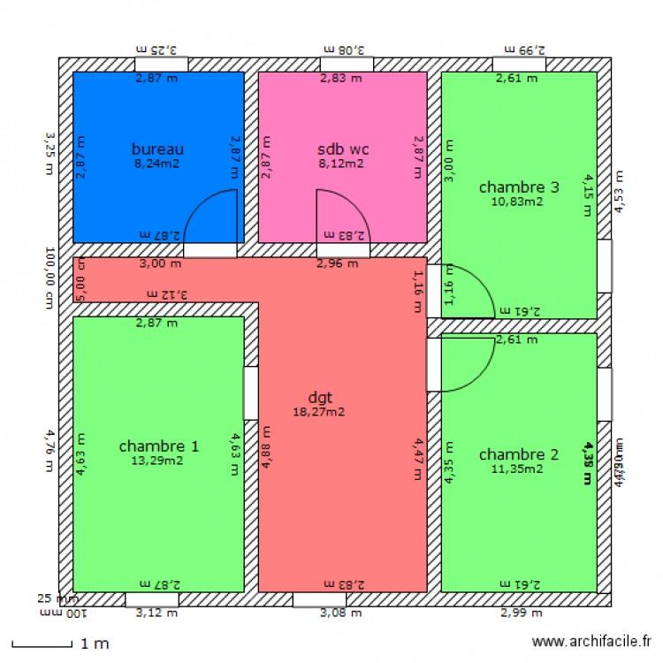 maison cube etage plan 6 pi 232 ces 70 m2 dessin 233 par kevinlaura