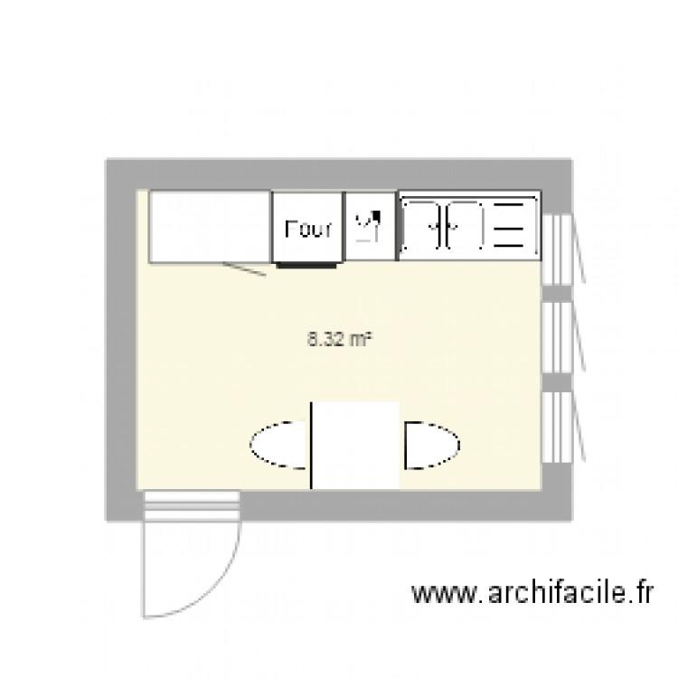 Cuisine plan 1 pi ce 8 m2 dessin par ibm17 - Plan cuisine en l ...