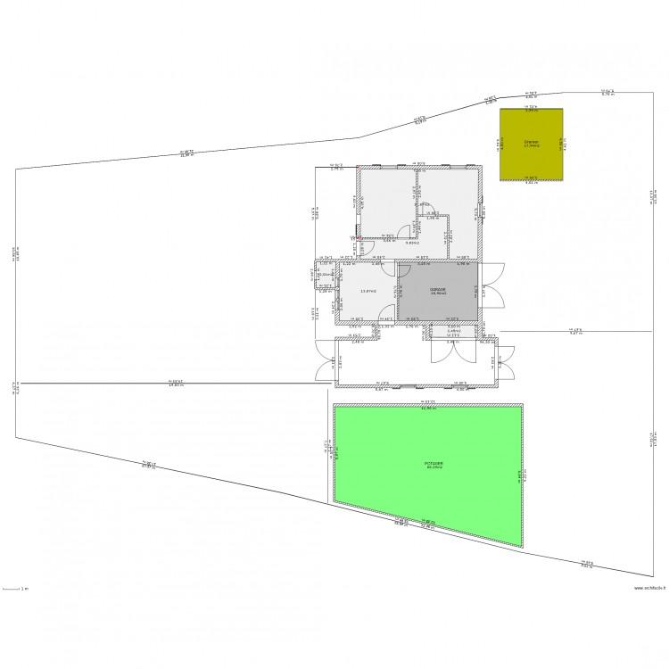 Dp2 bis plan de masse rdc avec extension garage plan 8 pi ces 185 m2 dessin par fmortreux - Dessiner un plan de masse ...
