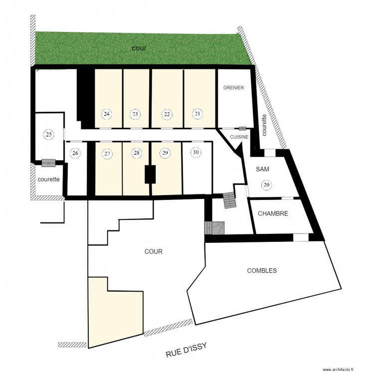 Vanves plan 11 pi ces 65 m2 dessin par annickhandystan for Plan 65