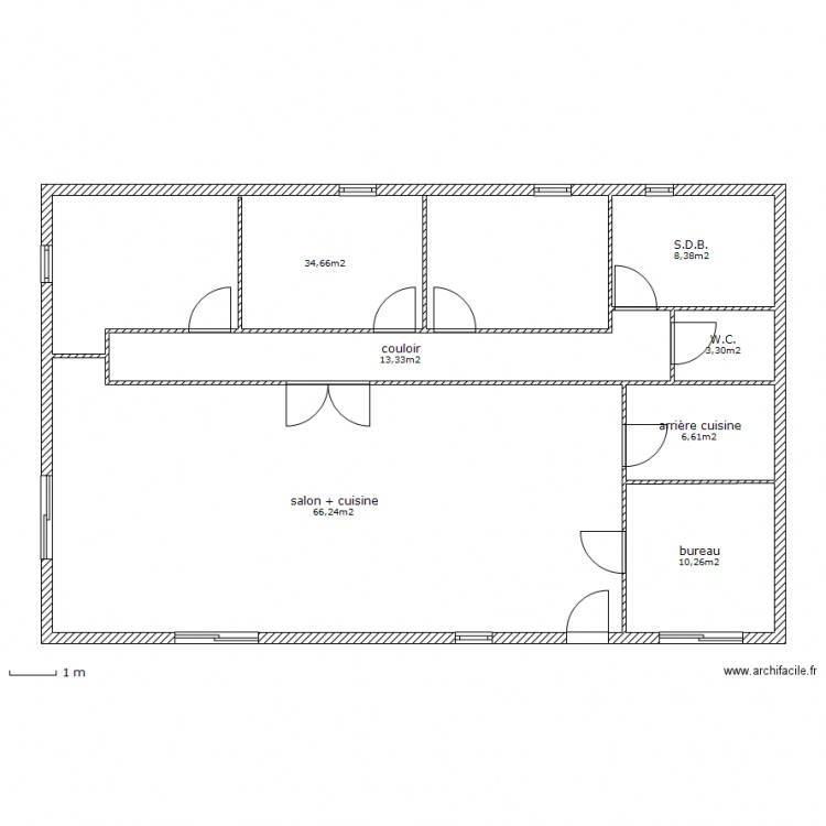 maison simple sans garage plan 7 pi ces 143 m2 dessin par stephzan. Black Bedroom Furniture Sets. Home Design Ideas