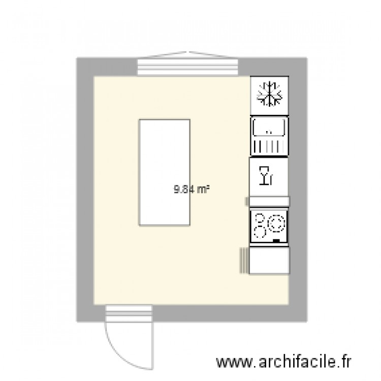 cuisine plan 1 pi ce 10 m2 dessin par lm1973. Black Bedroom Furniture Sets. Home Design Ideas