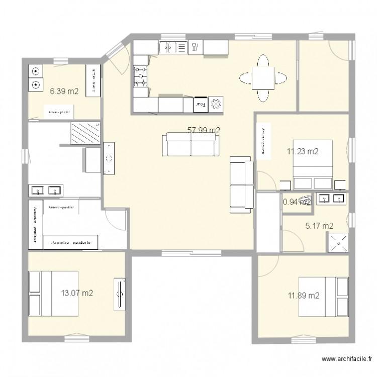 Plan maison u plan 7 pi ces 107 m2 dessin par babyluc for Plan de maison en u