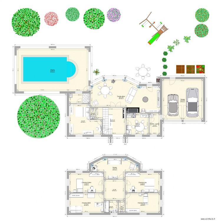 Maison de famille plan 16 pi ces 256 m2 dessin par for Plans de maison de famille