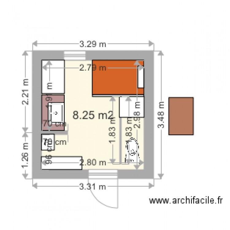 ma salle de bain renovee 3ter - plan 1 pièce 8 m2 dessiné par ... - Dessiner Ma Salle De Bain