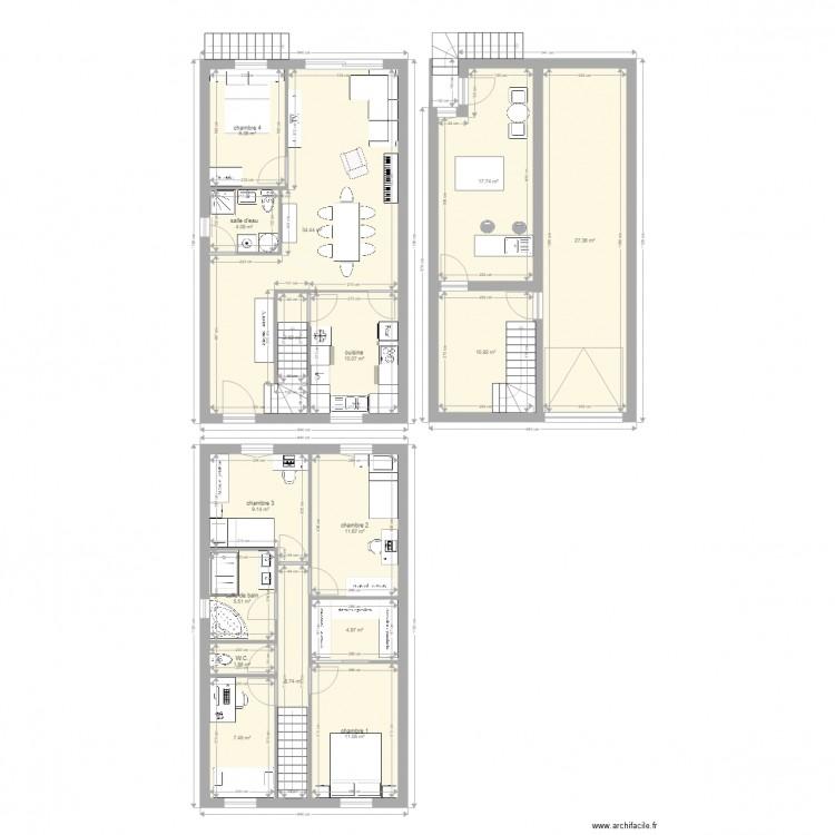 maison 6m de fa ade plan 16 pi ces 174 m2 dessin par smeillaud. Black Bedroom Furniture Sets. Home Design Ideas