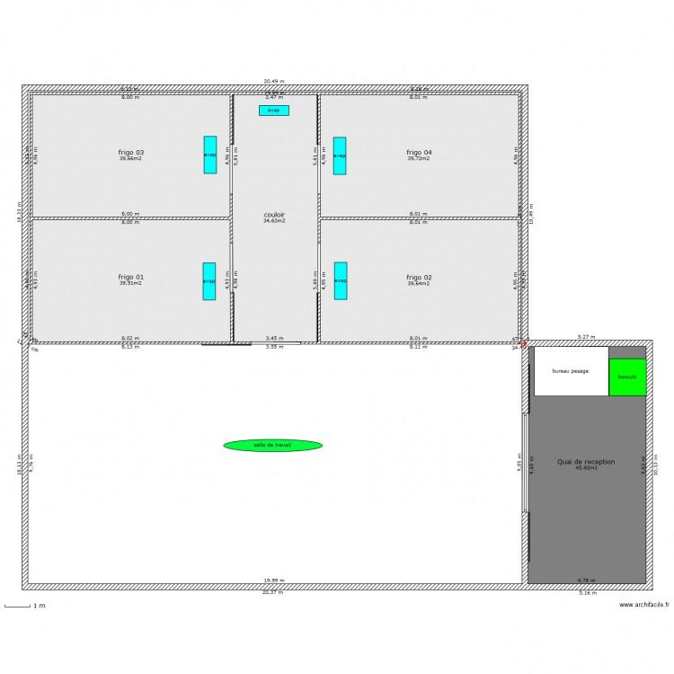 entrepot frigorifique plan 7 pi ces 241 m2 dessin par dhifi. Black Bedroom Furniture Sets. Home Design Ideas