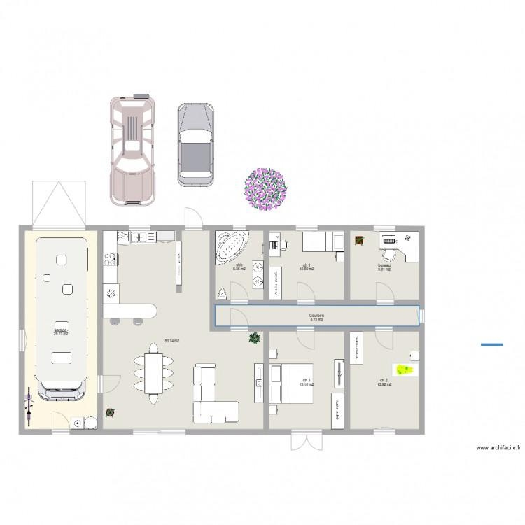 Belle villa plan 8 pi ces 149 m2 dessin par gaelle for Plan de belle villa