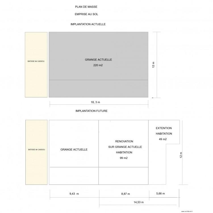 emprise au sol plan 3 pi ces 304 m2 dessin par montussan. Black Bedroom Furniture Sets. Home Design Ideas