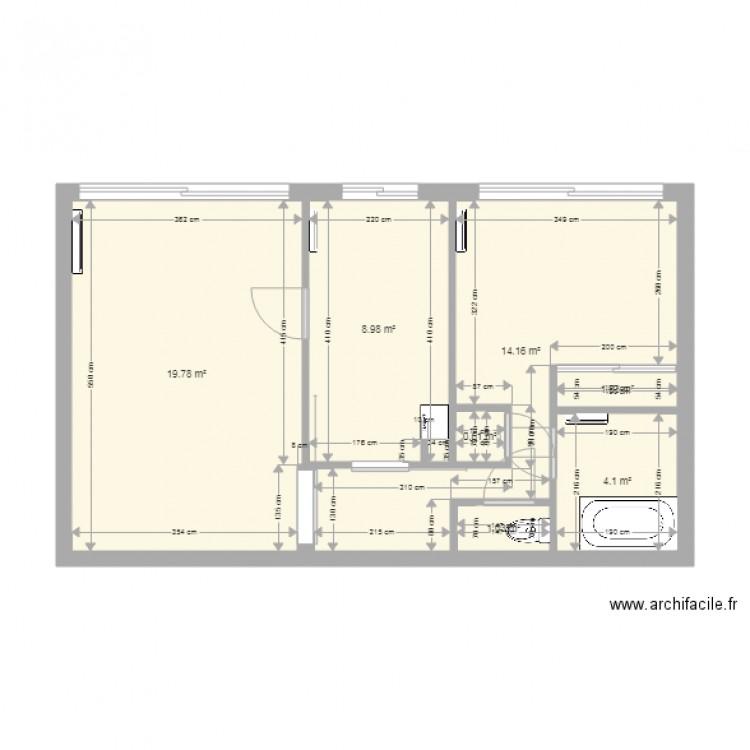appart plan 7 pi ces 50 m2 dessin par mac62. Black Bedroom Furniture Sets. Home Design Ideas