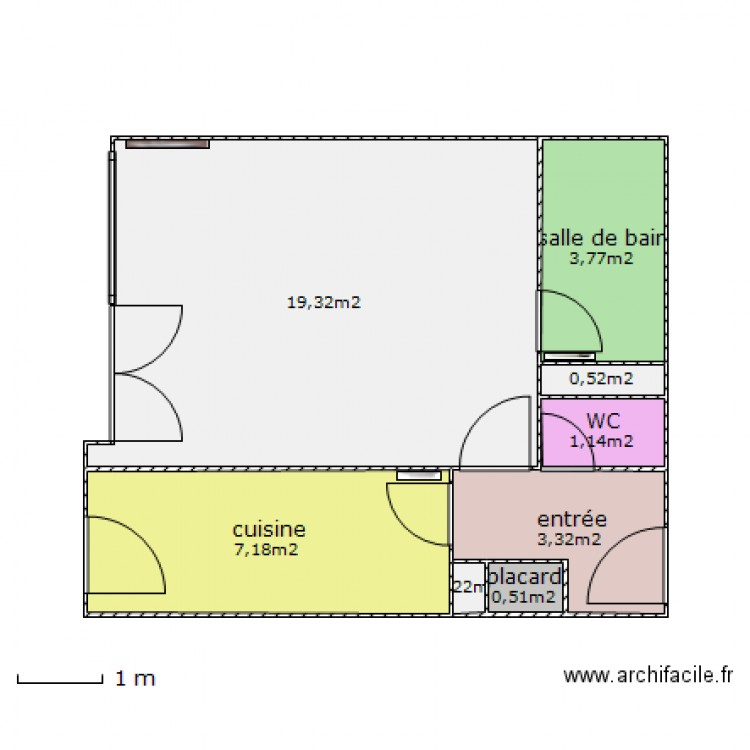 studio aux mesures vide plan 8 pi ces 36 m2 dessin par. Black Bedroom Furniture Sets. Home Design Ideas