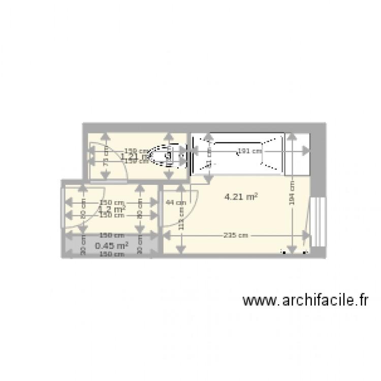 Salle de bain plan 4 pi ces 7 m2 dessin par desmfr for Salle de bain 4 m2