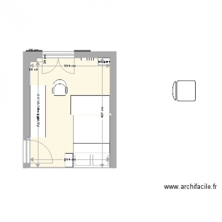 Chambre plan 1 pi ce 13 m2 dessin par confred for Chambre one piece