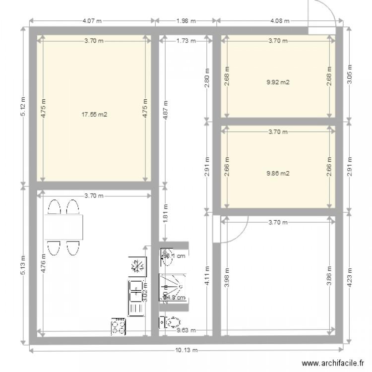 Maison 10X10 - Plan 3 Pièces 37 M2 Dessiné Par Heythem2010