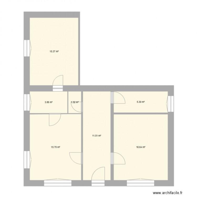 Maison blanche cindy plan 7 pi ces 70 m2 dessin par carowel for Taille moyenne maison