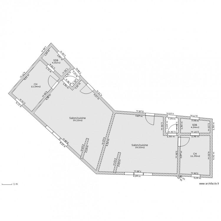 Maison v plan 6 pi ces 110 m2 dessin par gecko18 for Plan maison en v