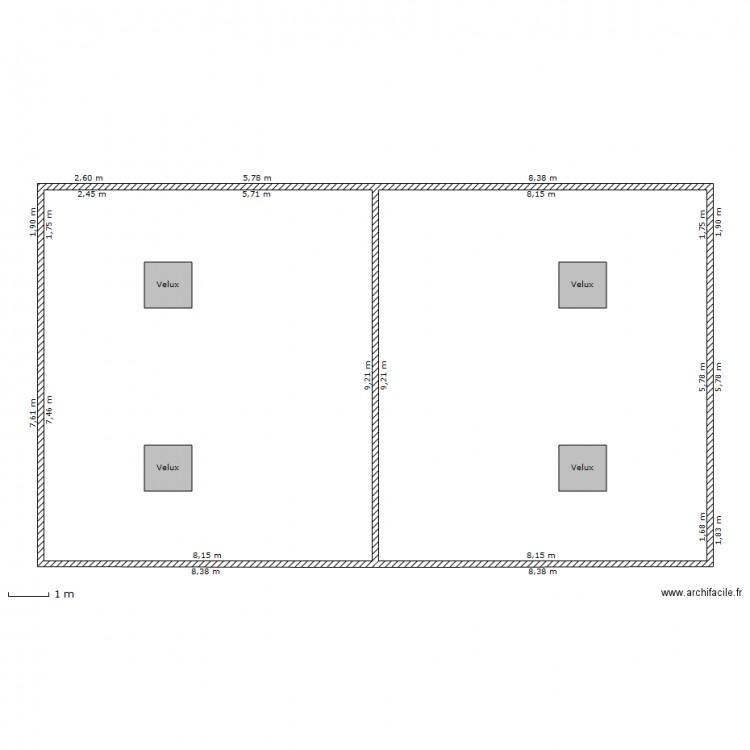 toiture vue de haut avec velux plan dessin par issadario. Black Bedroom Furniture Sets. Home Design Ideas
