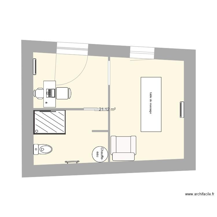 amenagement pi ces saint abit plan 1 pi ce 21 m2 dessin par cubasse. Black Bedroom Furniture Sets. Home Design Ideas
