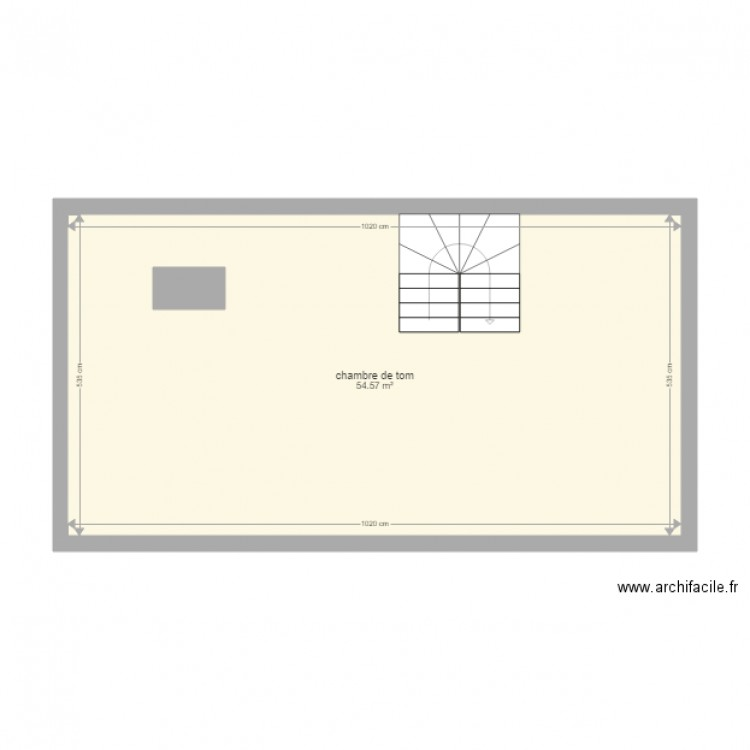 Chambre de tom archi facile plan 1 pi ce 55 m2 dessin for Chambre one piece