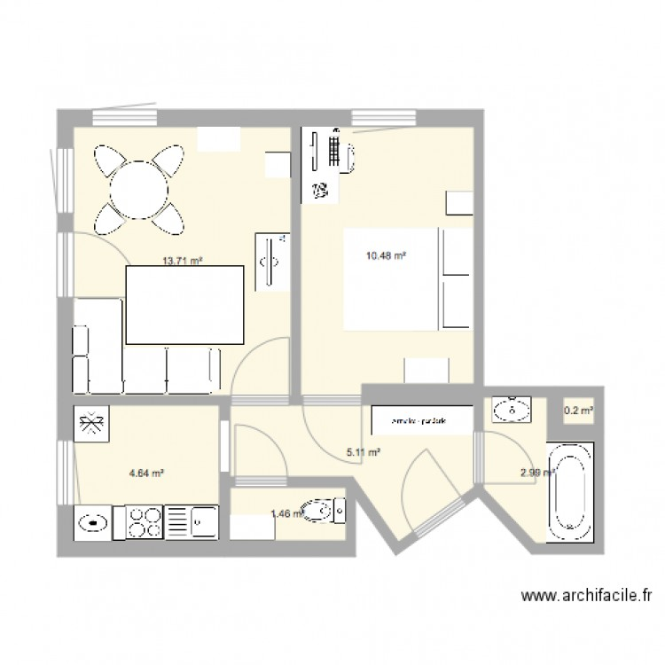 appart strasbourg plan 7 pi ces 39 m2 dessin par deta. Black Bedroom Furniture Sets. Home Design Ideas