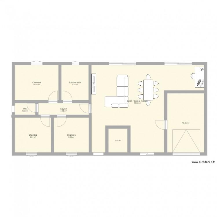 Plan de maison plan 9 pi ces 115 m2 dessin par kazou for Taille moyenne maison