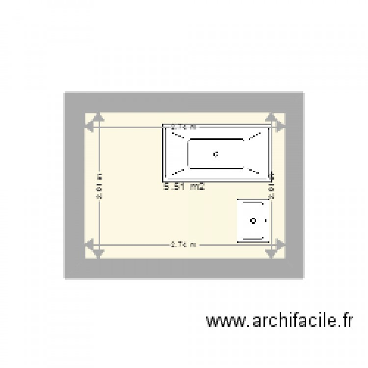 salle de bain plan 1 pi ce 6 m2 dessin par alysson33. Black Bedroom Furniture Sets. Home Design Ideas