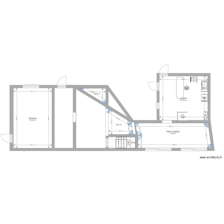 Maison plan 5 pi ces 57 m2 dessin par valou72 for Plan de maison 5 pieces