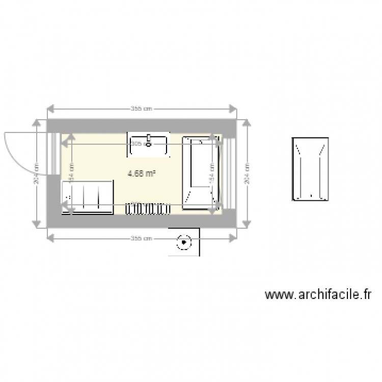 salle de bain plan 1 pi ce 5 m2 dessin par maxinemak. Black Bedroom Furniture Sets. Home Design Ideas