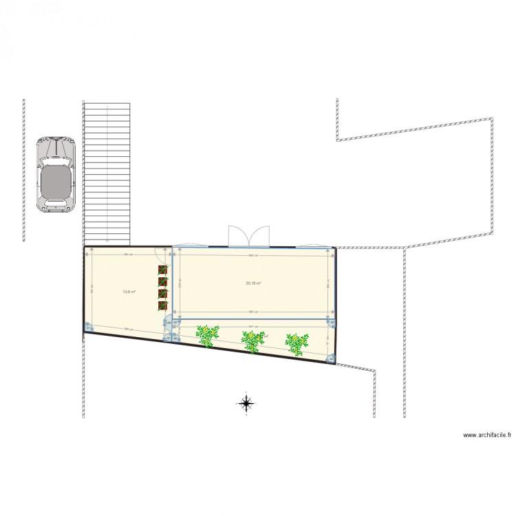 Veranda plan de masse plan 3 pi ces 43 m2 dessin par bruno vicari - Dessiner un plan de masse ...
