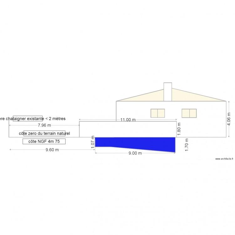 plan de coupe vue de cot dp3 2 piscine et abri plan 7 pi ces 22 m2 dessin par jjbeor. Black Bedroom Furniture Sets. Home Design Ideas