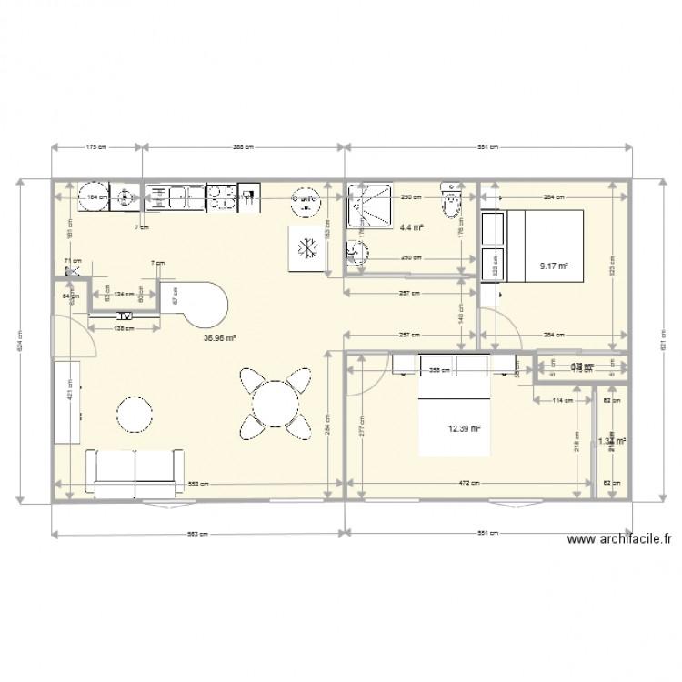 Logement plan 6 pi ces 65 m2 dessin par pielu for Plan 65
