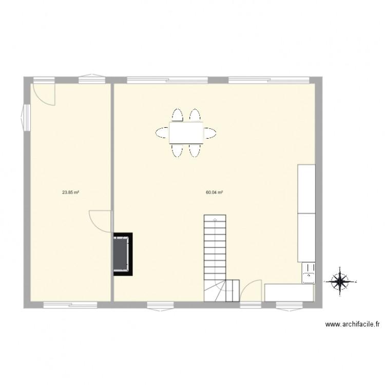 plan de maison plan 2 pi ces 84 m2 dessin par mariefirmin. Black Bedroom Furniture Sets. Home Design Ideas